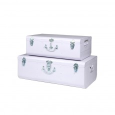 Set de 2 valises métal Blanc