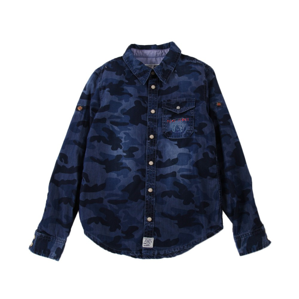 chemise camouflage denim hedge bleu jean pepe jeans mode ado gar on smallable. Black Bedroom Furniture Sets. Home Design Ideas