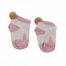 Chaussettes Lapin Pompon Rose pâle