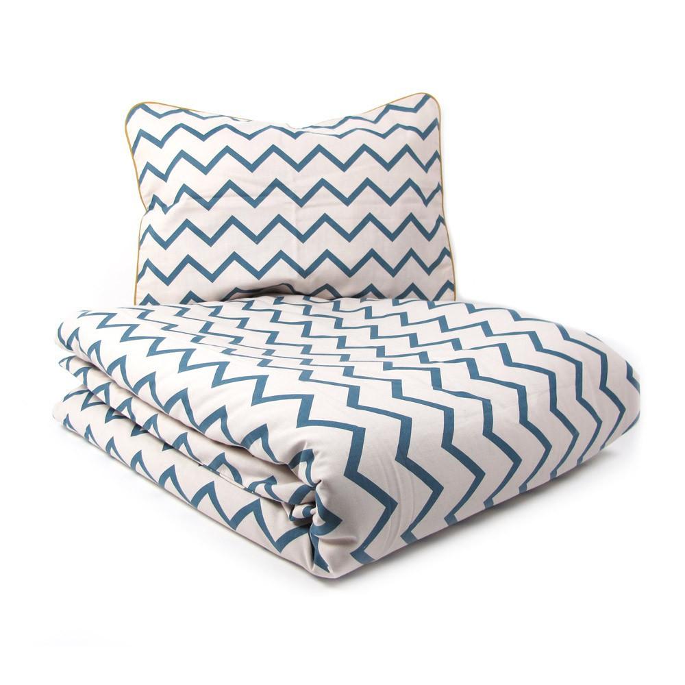 housse de couette zig zag bleu nobodinoz d coration. Black Bedroom Furniture Sets. Home Design Ideas
