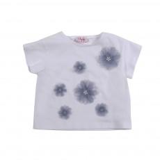 T-shirt Fleurs Blanc