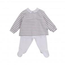 Pyjama Rayé Col Chemise Gris clair