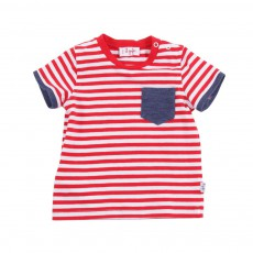T-shirt Rayé Poche Denim Rouge