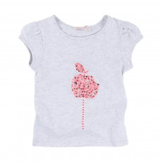 T-shirt Pomme Sequins Gris chiné