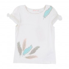 T-shirt Plumes Strass Blanc