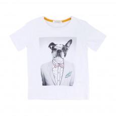 T-Shirt Chien Costumé Blanc