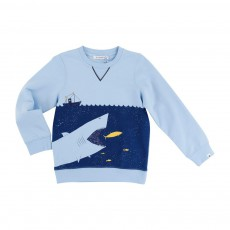 Sweat Molleton Requin Bleu ciel