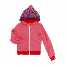 Sweat Capuche Rouge chiné - Ecru