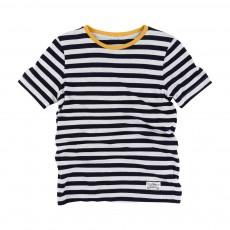 T-Shirt Rayé Moucheté Bleu marine