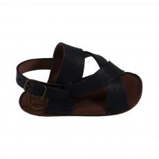 Sandales souples cuir Bleu marine