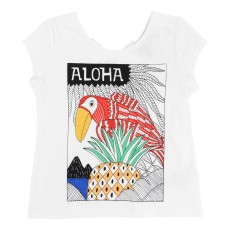 T-shirt Toucan Aloha Blanc
