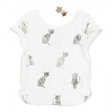 T-shirt Chats Et Barettes Ecru