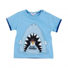 T-shirt I love Sharks Bleu ciel