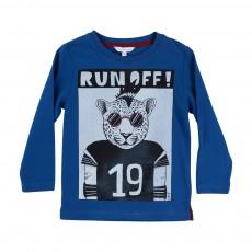 T-shirt Léopard Run Off Bleu