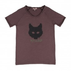 T-shirt Petit Loup Marron