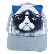 Casquette chat Bleu jean