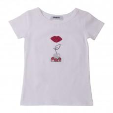 T-shirt Bouche Et Cerise Strass Blanc