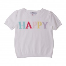 "Pull Manches Courtes ""Happy"" Blanc"