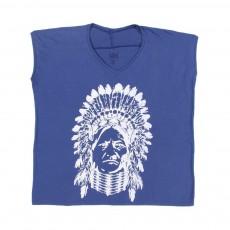 T-shirt Col V Indien Korind Bleu