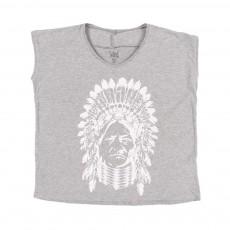 T-shirt Col V Indien Korind Gris chiné