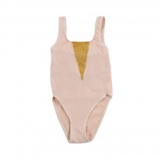 Maillot 1 pièce Glittery Triangle Rose poudré
