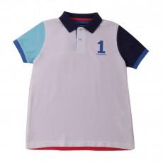 Polo Multicolore Numéro 1 Blanc