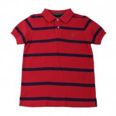 Polo Rayé Logo Rouge vermillon
