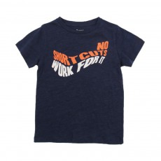 "T-shirt ""No Short Cuts Work For It"" Cats Bleu nuit"