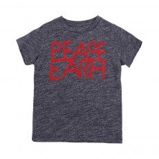 "T-shirt ""Peace On Earth"" Cats Bleu gris"