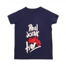 "T-shirt ""Real Sonic Her"" Mome Bleu indigo"