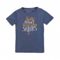 "T-shirt ""Smooth Seas Don't Make Good Sailors"" Bleu chiné"