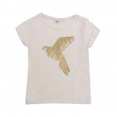 T-shirt Oiseau Origami Ecru
