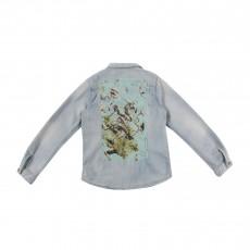 Chemise Jean Dos Flamants Roses Bleu jean
