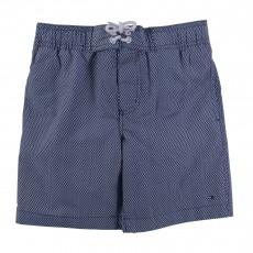 Short De Bain Micro Pattern Print Bleu