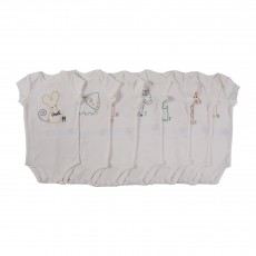 Lot De 7 Bodies Animaux Sammie Blanc