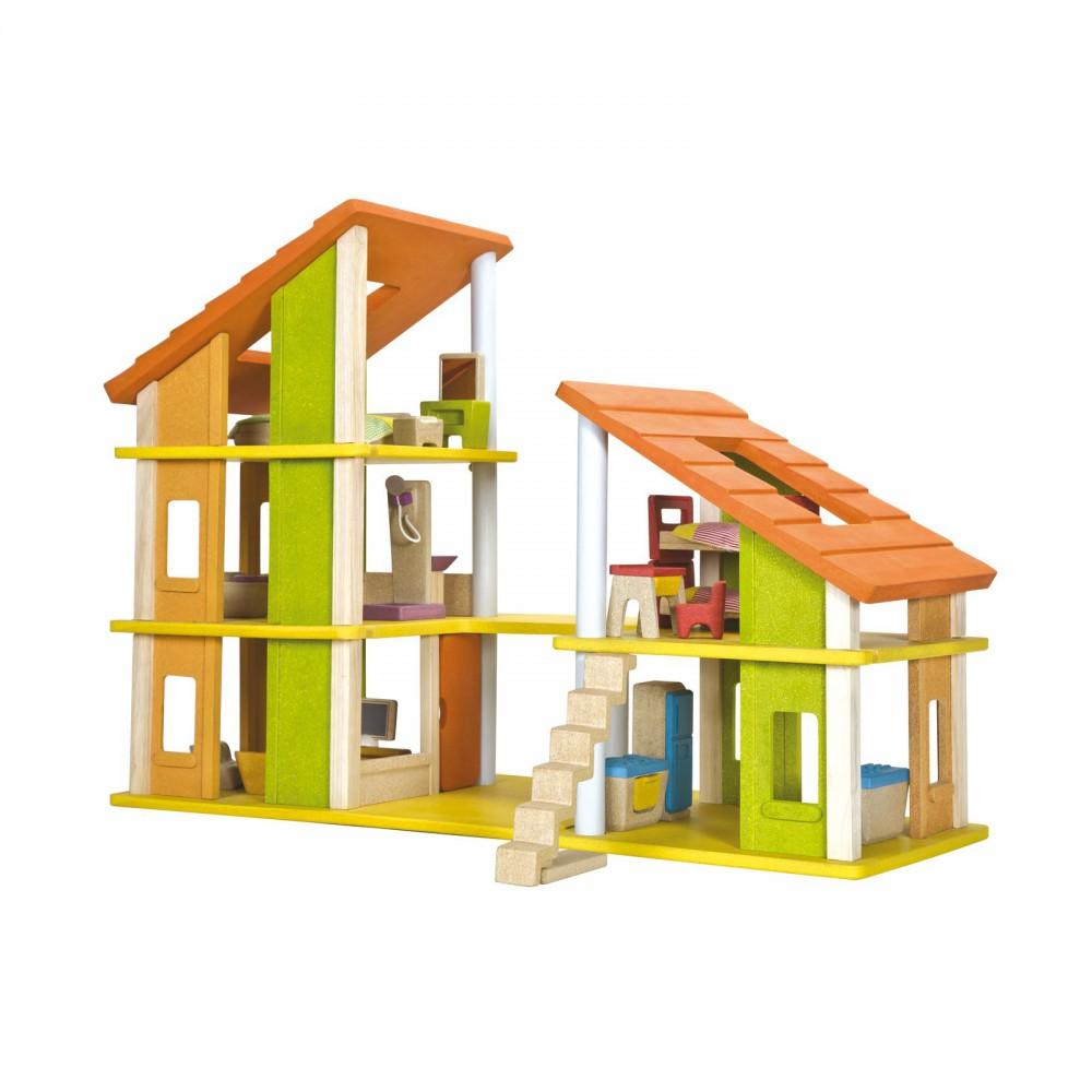maison de poup e chalet meubl e plan toys jeux jouets loisirs enfant smallable. Black Bedroom Furniture Sets. Home Design Ideas