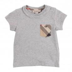 T-shirt Poche Tartan Bébé Gris chiné