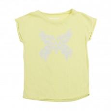 T-shirt Papillon Strass Jaune pâle