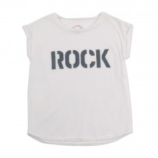 "T-shirt ""Rock"" Pailletté Blanc"