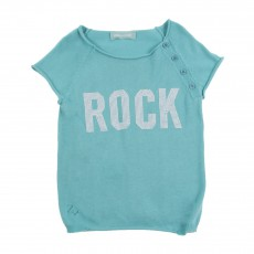 Pull Manches Courtes Rock Strass Bleu turquoise