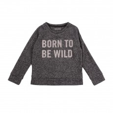 "Sweat Chiné ""Born To Be Wild"" Gris charbon"