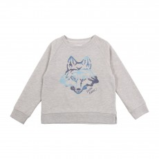 Sweat Molleton Loup Brodé Gris chiné