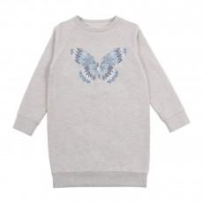 Robe Molleton Papillon Brodé Gris chiné