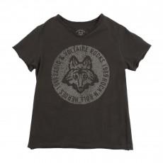 T-shirt Loup Craquelé Gris anthracite