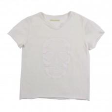 T-shirt Tête De Mort Relief Blanc