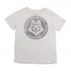 T-shirt Tête De Loup Blanc