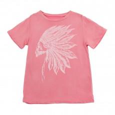 T-shirt Indien Tête De Mort Rose