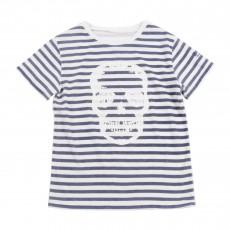 T-shirt Rayé Tête De Mort Blanc