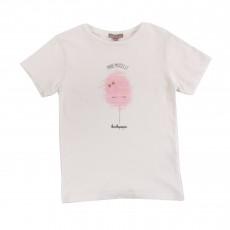 T-shirt Barbe A Papa Blanc