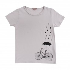 T-shirt Vélo Parapluie Blanc